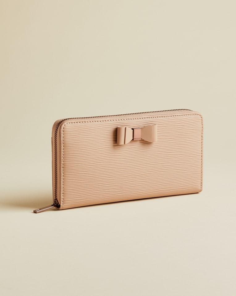 Taupe Bow zip around matinee purse