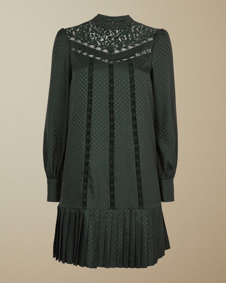 Lace Detail Dress Dark Green