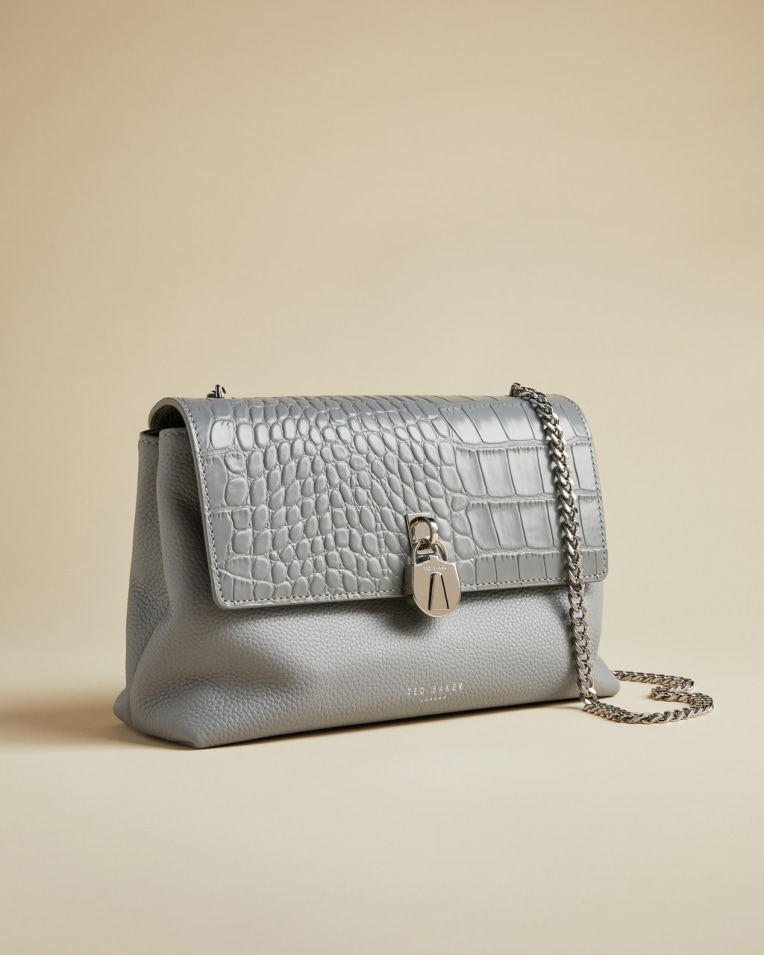 Light Grey Exotic leather cross body bag