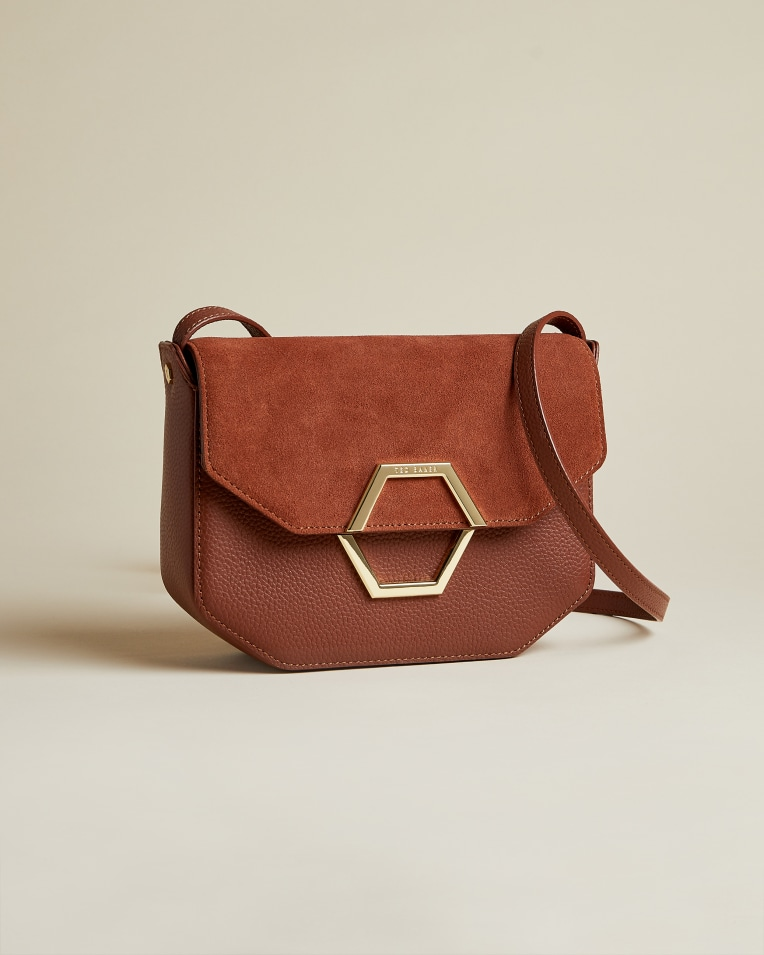 Dark Tan Leather and suede hexagon detail cross body bag