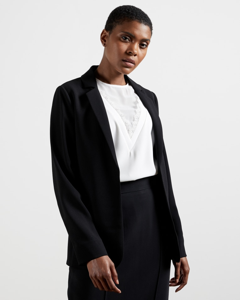 Black Long line straight fit blazer