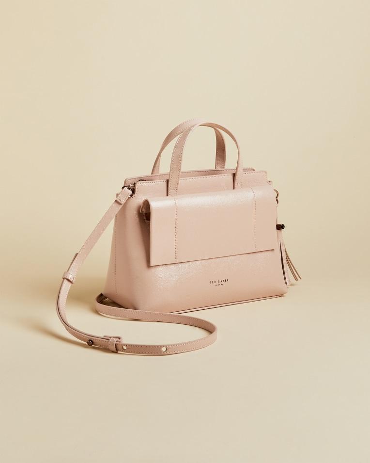 Pink Leather tassel tote bag