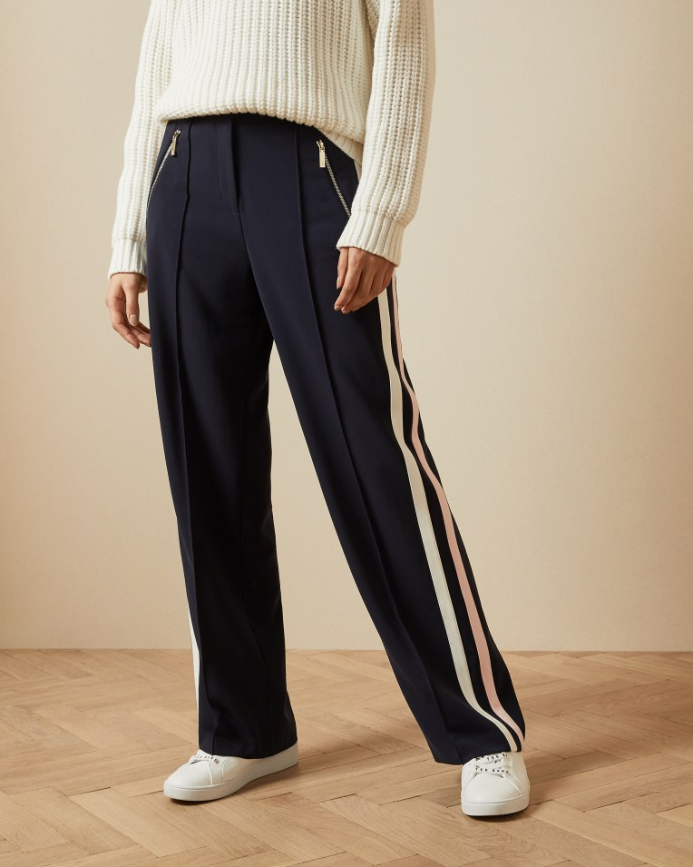 Navy Side Stripe Trousers