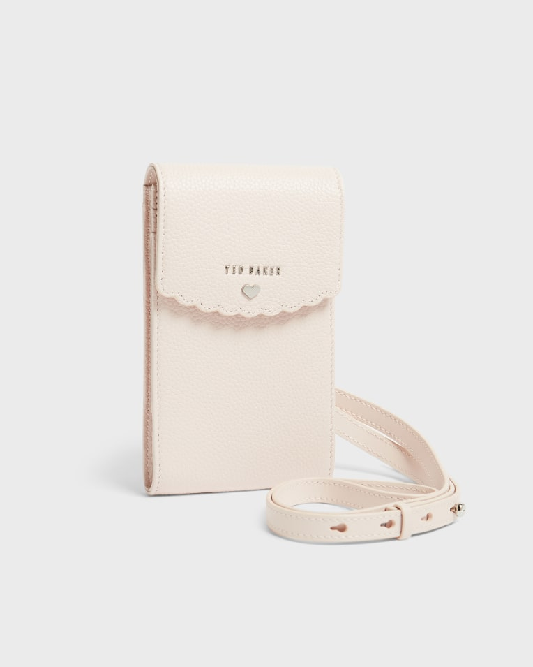 Dusky Pink Scallop detail leather cross body phone case