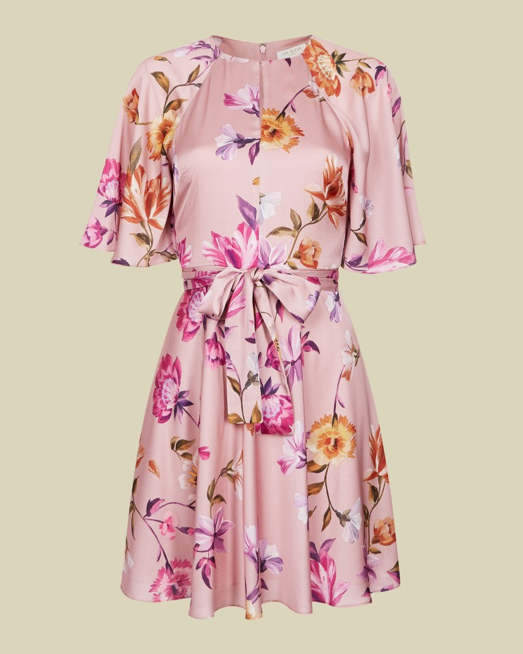 Dusky Pink Rhubarb mini tea dress