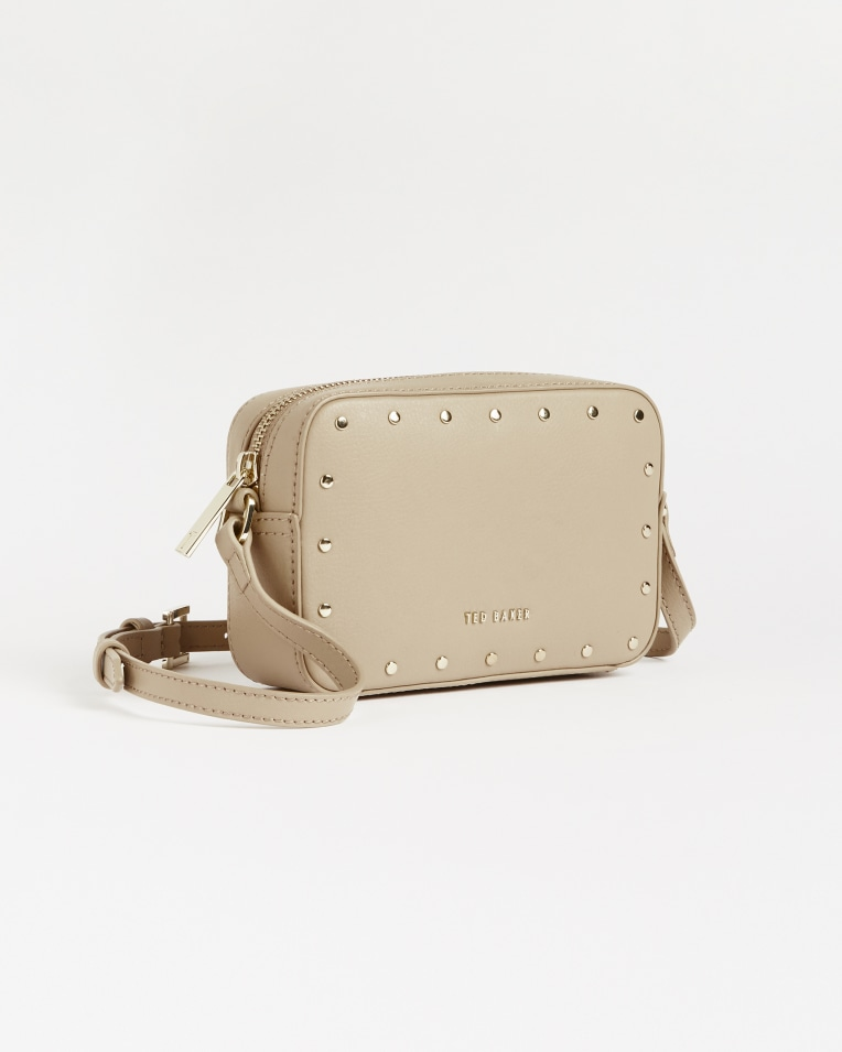 Taupe Leather studded camera bag