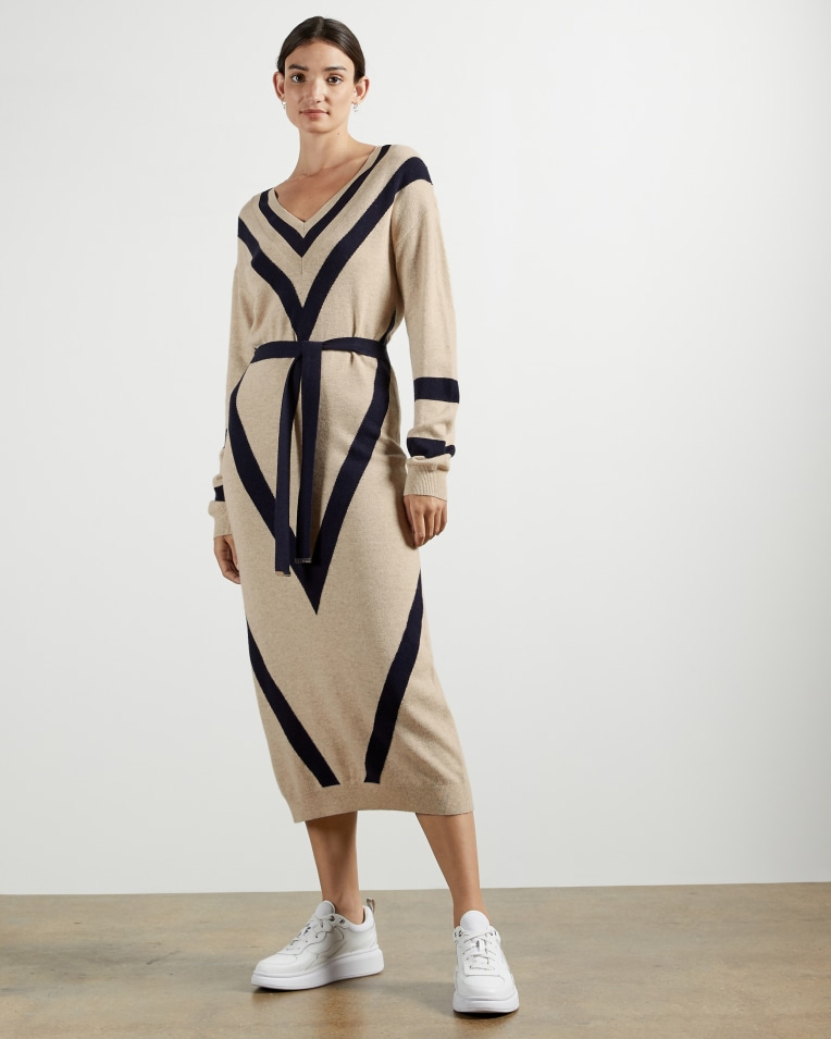 Natural Chevron detail knitted midi dress
