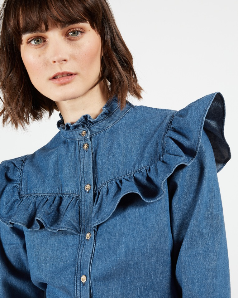 Blue Denim button front top