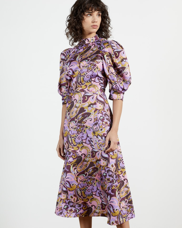 BLK-PINK Printed Short Sleeve Silk Dress