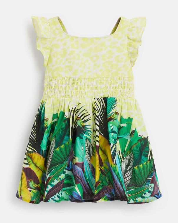 테드 베이커 Ted Baker 392905 Printed Dress with Frill Shoulder,white