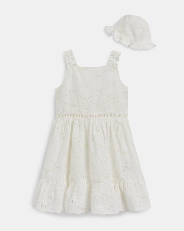 테드 베이커 Ted Baker 680124 Broderie Dress With Matching Hat,white