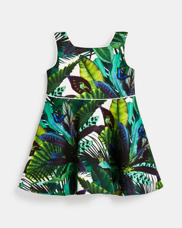 테드 베이커 Ted Baker Printed dress with strappy sleeves,green