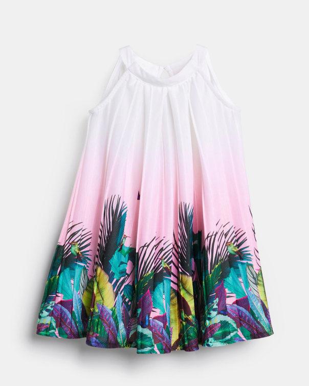 테드 베이커 Ted Baker 794979 Pleated Printed Sleeveless Dress,pink