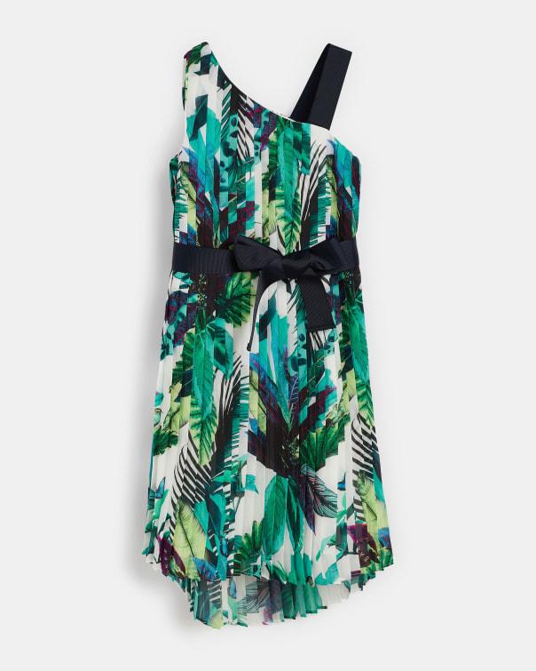 테드 베이커 Ted Baker 953221 Printed Dip Hem Dress,white