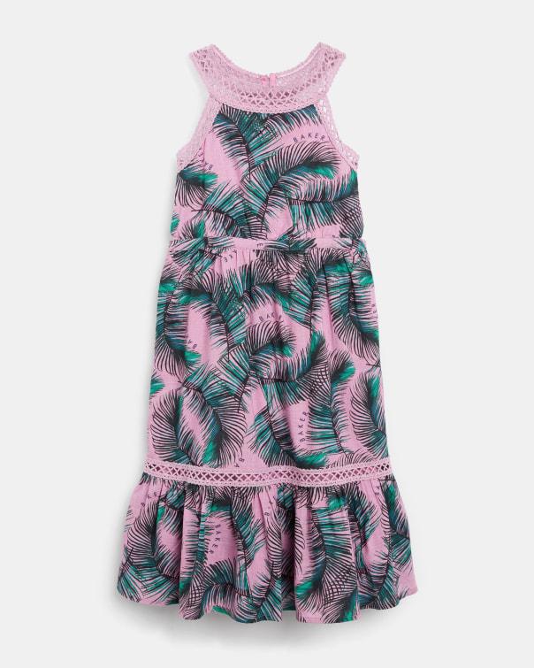 테드 베이커 Ted Baker 955198 Printed Tiered Sleeveless Dress,pink