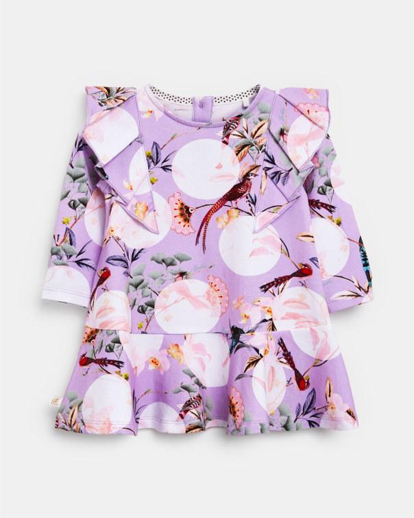 테드 베이커 Ted Baker Frill detail printed dress,lilac