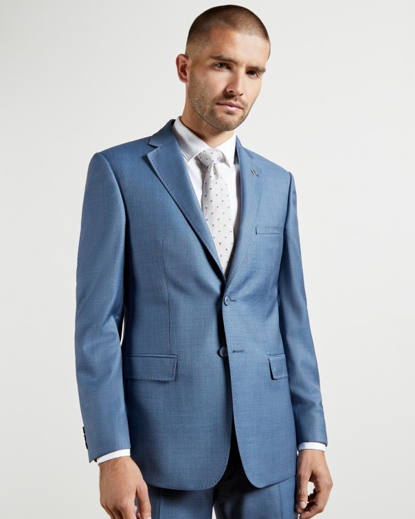 테드 베이커 Ted Baker Debonair sharkskin wool suit jacket,light blue