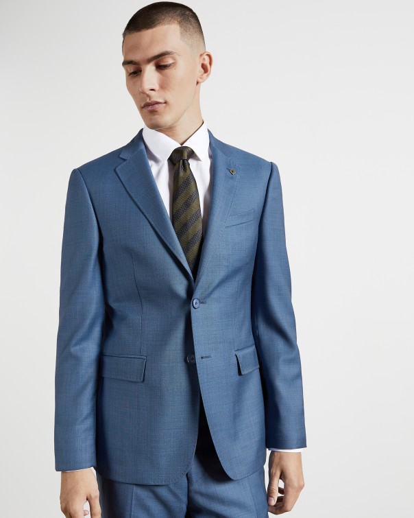 테드 베이커 Ted Baker Skinny fit sharkskin wool suit jacket,light blue