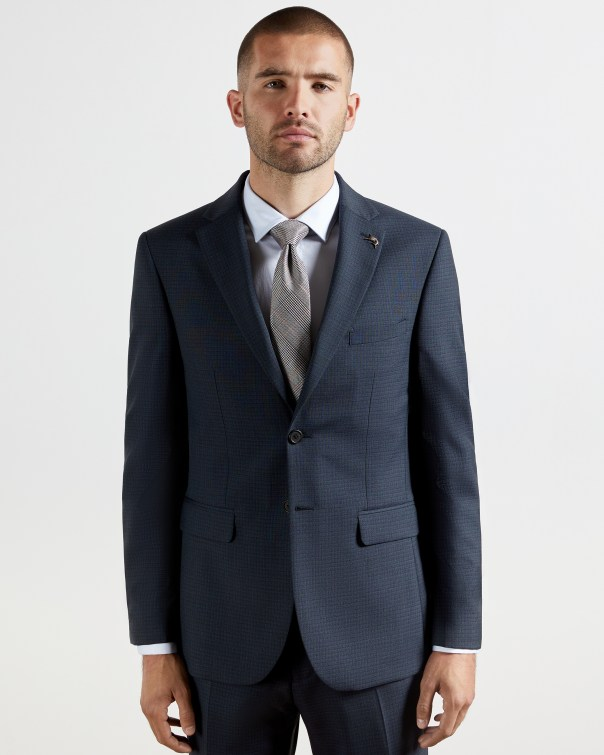 테드 베이커 Ted Baker Checked wool blend suit jacket,navy