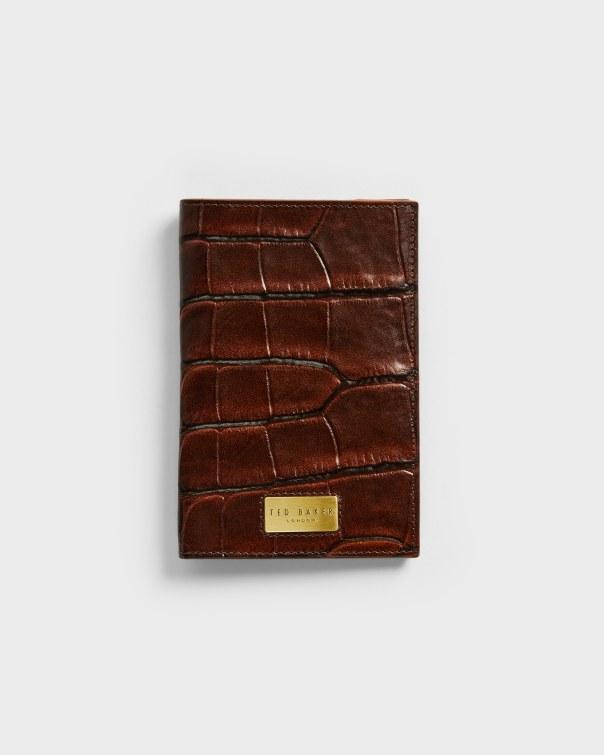 테드 베이커 여권 지갑 Ted Baker Croc embossed passport holder,brn-choc