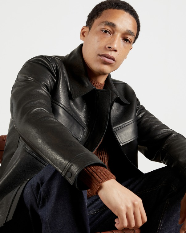 테드 베이커 자켓 Ted Baker Leather harrington jacket,black