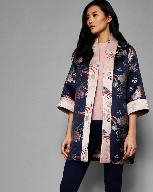 테드 베이커 Ted Baker Chinoiserie Jacquard kimono,navy