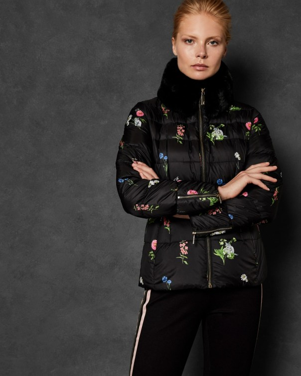 테드 베이커 Ted Baker Florence printed down jacket,black