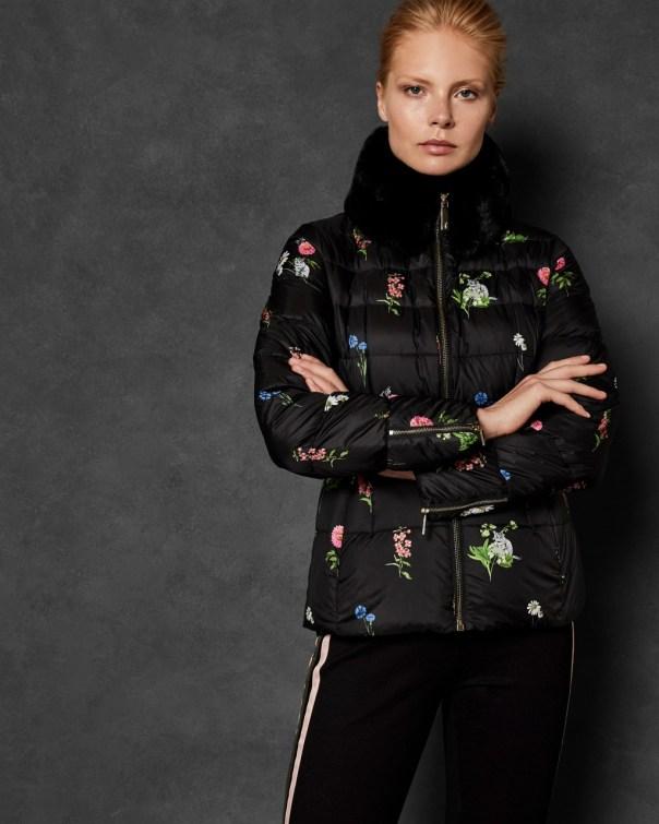 테드 베이커 Ted Baker Florence printed down jacket,black