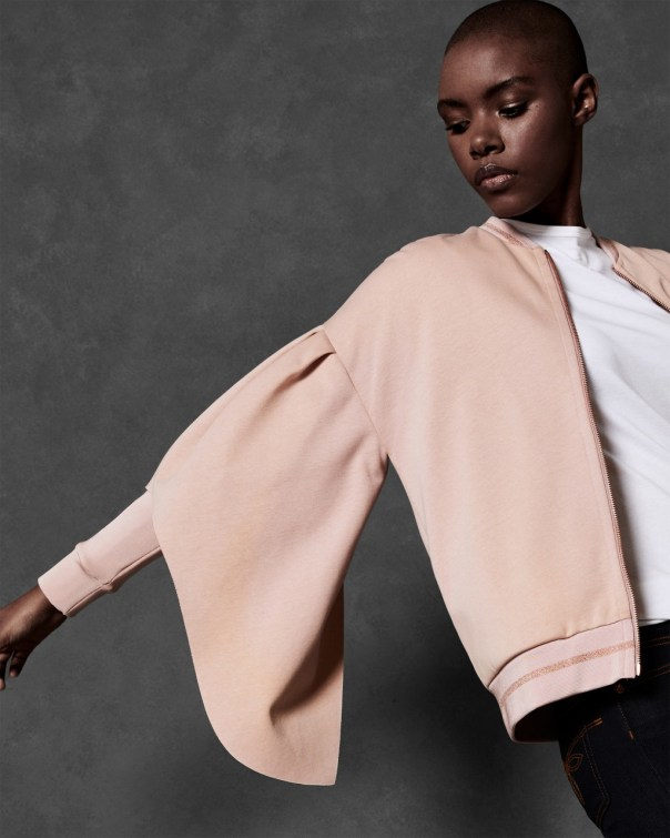 테드 베이커 Ted Baker Full sleeve rib detail bomber jacket,dusky pink