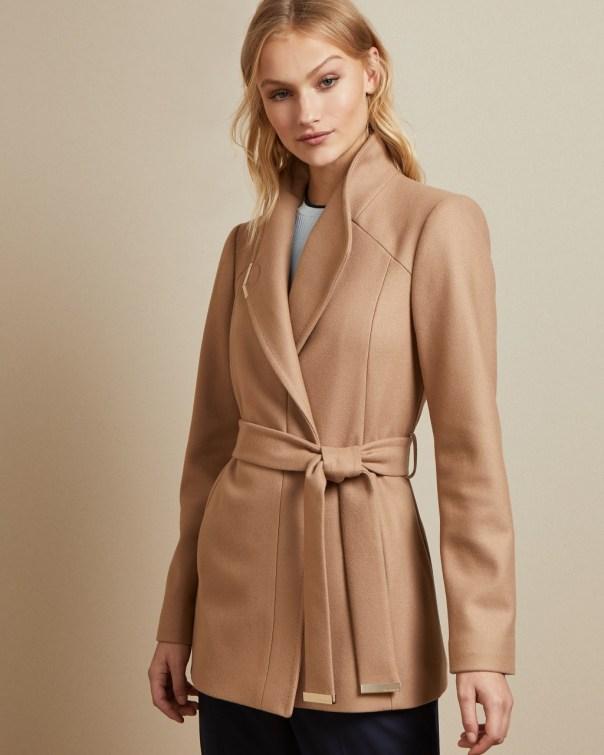 테드 베이커 Ted Baker Short belted wool wrap coat,camel