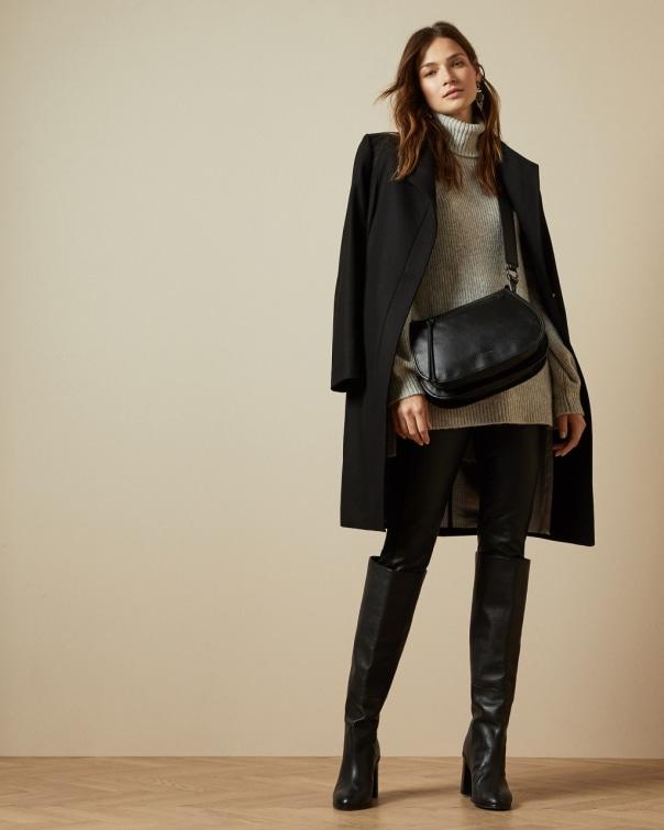 테드 베이커 Ted Baker Long belted wrap coat,black