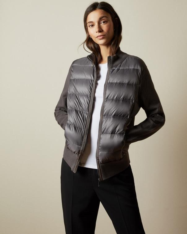 테드 베이커 Ted Baker Padded front knit jacket,light grey