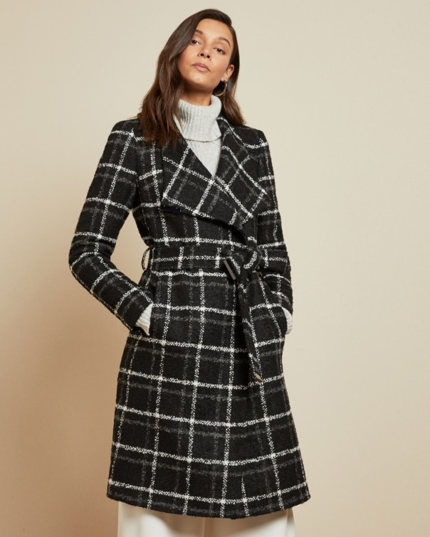 테드 베이커 Ted Baker Checked belted wrap coat,black