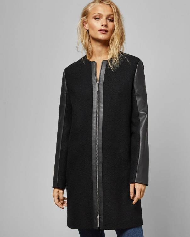 테드 베이커 Ted Baker Faux leather sleeve wool coat,black