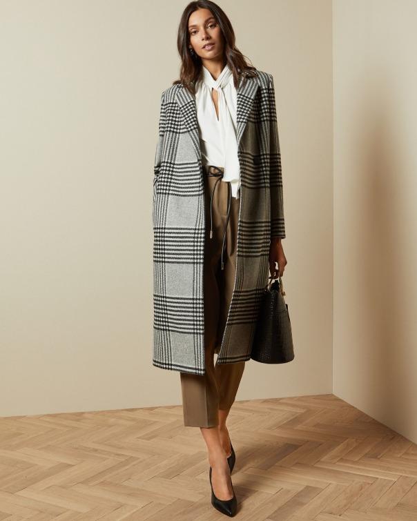 테드 베이커 Ted Baker Wool checked coat,black