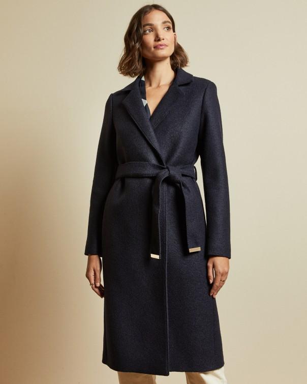 테드 베이커 Ted Baker Buttoned wrap coat,dark blue
