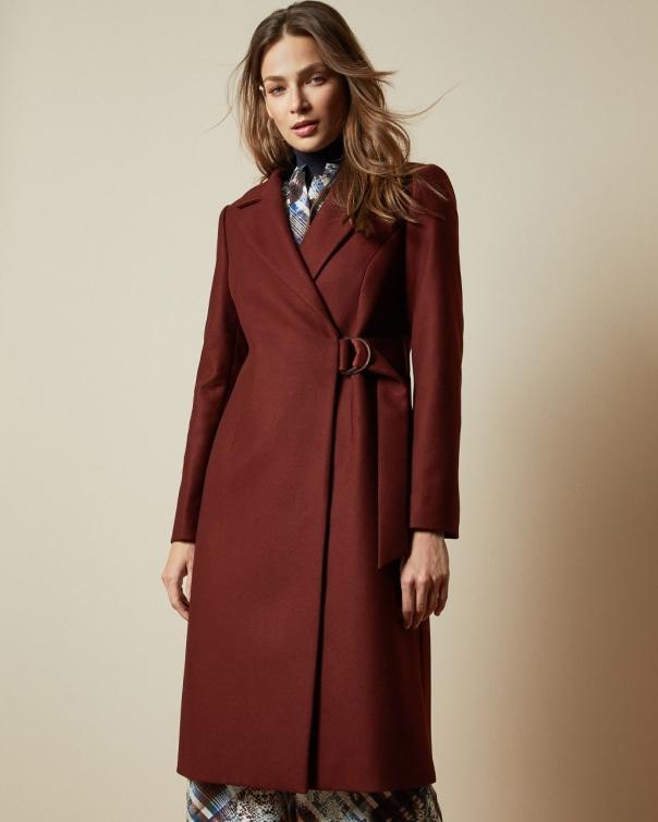 테드 베이커 Ted Baker Long belted wrap overcoat,dark brown