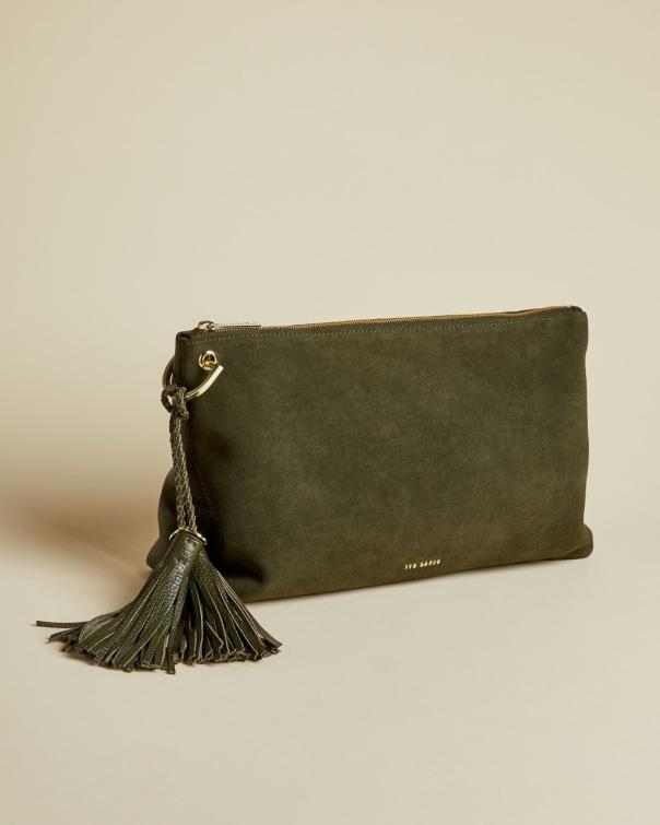 테드 베이커 Ted Baker Tassel clutch bag,khaki