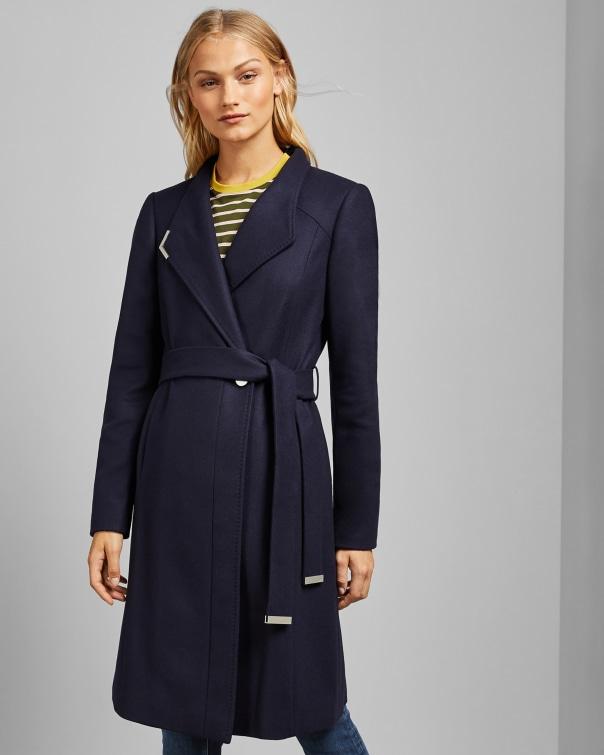 테드 베이커 Ted Baker Long belted wrap coat,navy