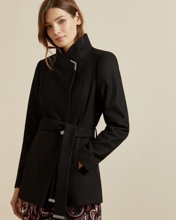 테드 베이커 Ted Baker Short belted wool wrap coat,black