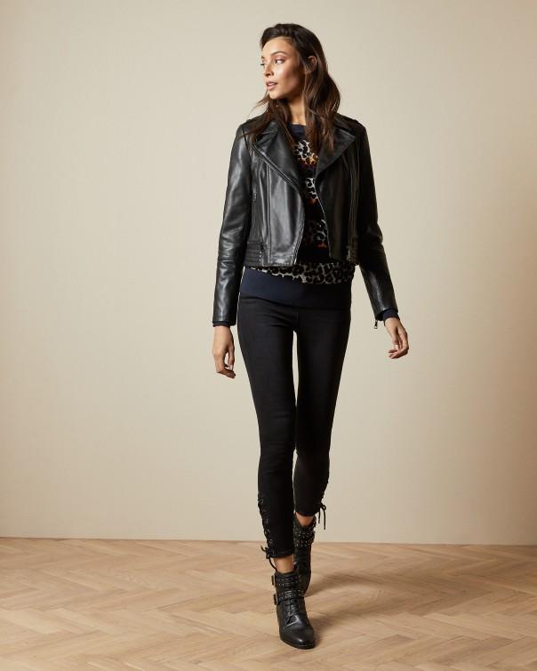 테드 베이커 Ted Baker Zip leather biker jacket,black