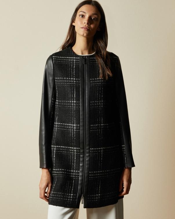 테드 베이커 Ted Baker Faux leather sleeve checked coat,black