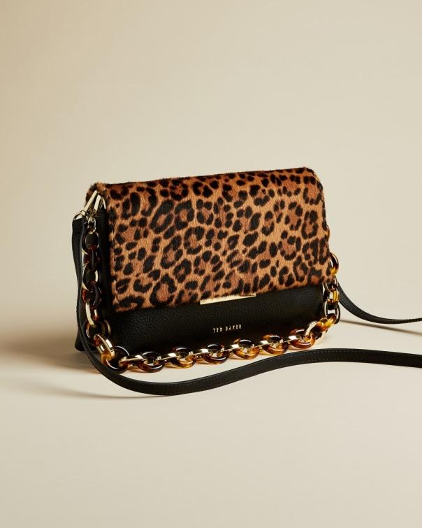 테드 베이커 Ted Baker Faux fur detail leather shoulder bag,black