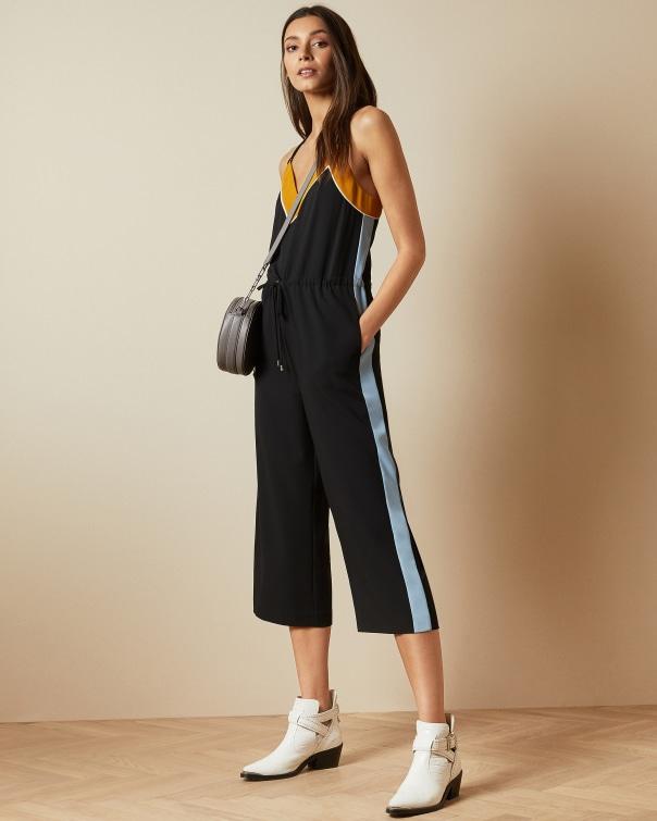테드 베이커 Ted Baker Slip style contrast side jumpsuit,black