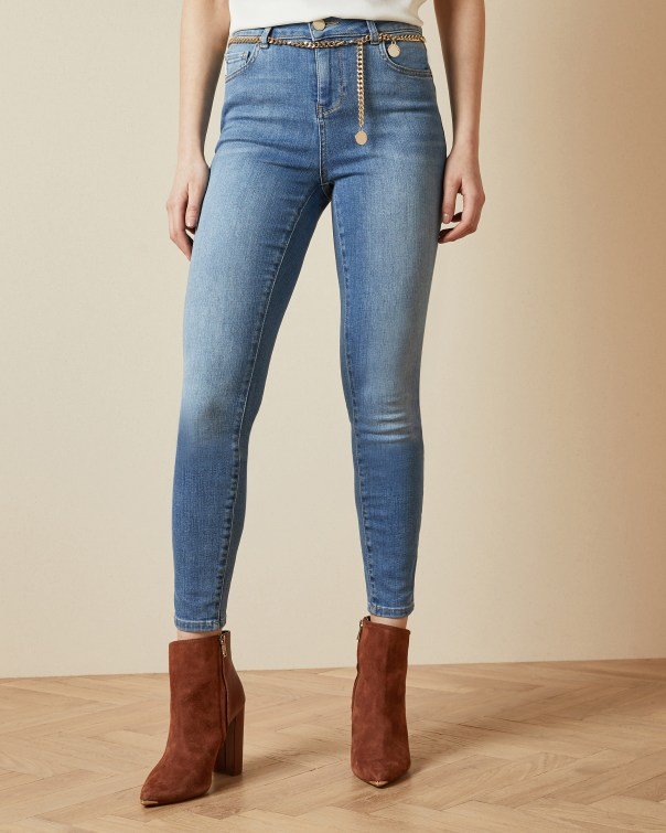 테드 베이커 Ted Baker Cotton skinny jeans with chain belt,light blue