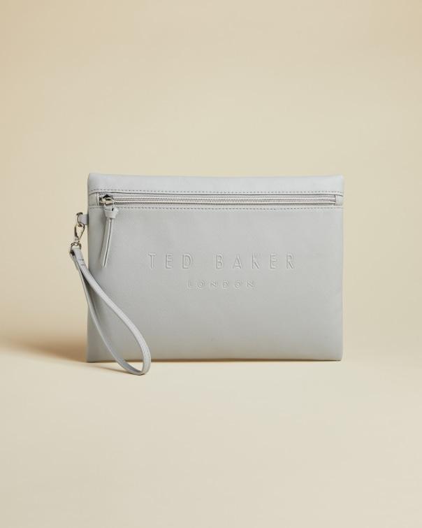 테드 베이커 Ted Baker Debossed vinyl pouch,light grey