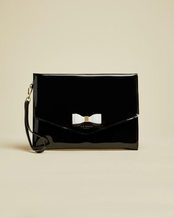 테드 베이커 Ted Baker Vinyl bow pouch,black