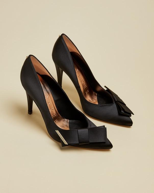 테드 베이커 Ted Baker Satin bow detail court shoes,black