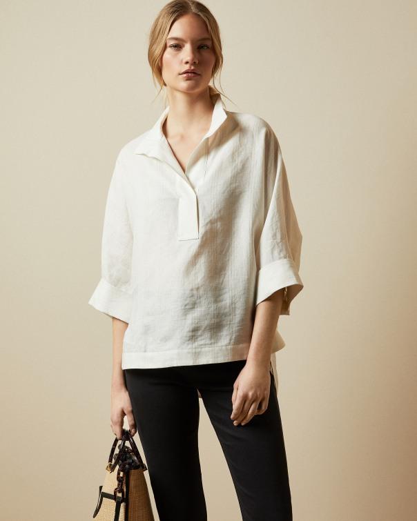 테드 베이커 Ted Baker Linen oversized shirt,ivory