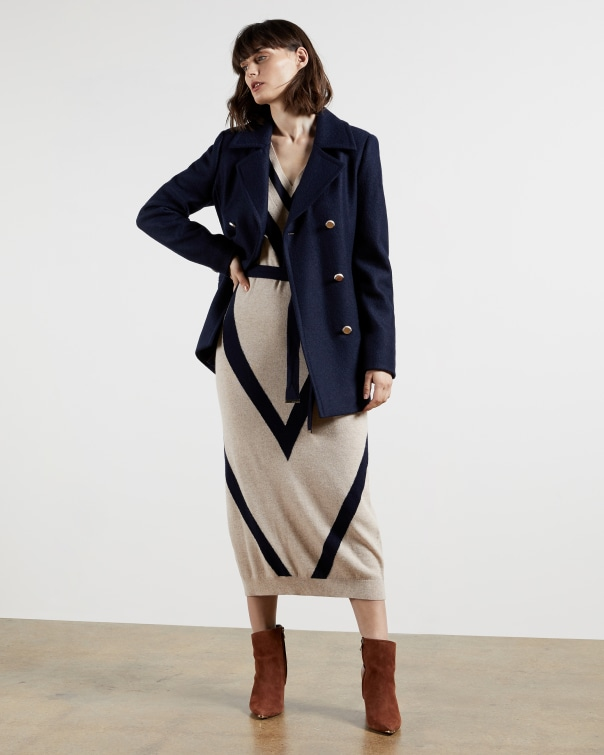 테드 베이커 Ted Baker Double breasted pea coat,dark blue